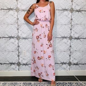 Lush Pink Floral Sleeveless Maxi Dress